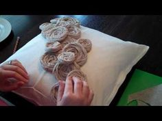 How to Make Rolled Rosette Flowers. Video tutorial that goes along with the DIY Embellished Rosette Pillow tutorial found at . Burlap Flowers, Beaded Flowers, Diy Flowers, Fabric Flowers, Paper Flowers, Flower Diy, Fabric Rosette, Scrap Fabric, Diy Crafts Home