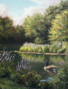 Nature Print featuring the painting The Pond by Lucie Bilodeau