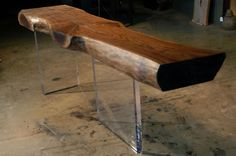 Reclaimed Walnut Slab Console Lucite Slab Legs | eBay