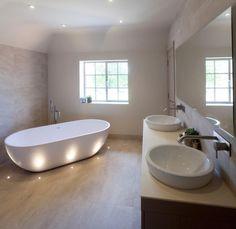 Contemporary bathroom style design with egg bath