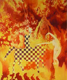 """Cavalos triomphant"" Huile / toile 10F (55 x 46) 08/2000 inachevée"