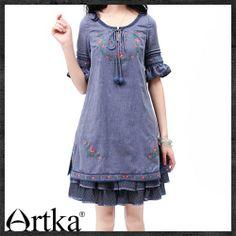 Artka/retro round collar flounced embroidery dress SA10430X Blue