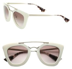 Prada Cat Eye Double-Bridge Sunglasses Ivory/Light Brown Shaded. Free shipping and guaranteed authenticity on Prada Cat Eye Double-Bridge Sunglasses Ivory/Light Brown Shaded at Tradesy. Thick, cat-eye acetate frames. Golden metal arms w...