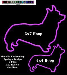 Corgie Dog Applique Design  Applique Machine Embroidery Design by DigitizedByHand