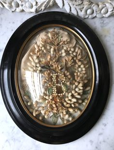 1800s antique French framed wax flowers and by histoireancienne
