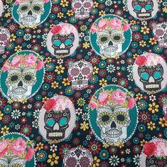 Sold by the Metre and that is more than the Yard! by FabricDesigTreasures Laminated Fabric, Printing On Fabric, Skull Fabric, Timeless Treasures Fabric, French Fabric, Cool Fabric, Fabric Panels, Nightmare Before Christmas, Sugar Skull