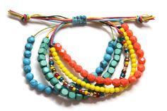 Colorful Waxed Cord Beaded Beachy Boho Bracelet by JomartinDesigns