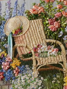 Wonderful Ribbon Embroidery Flowers by Hand Ideas. Enchanting Ribbon Embroidery Flowers by Hand Ideas. Learn Embroidery, Hand Embroidery Stitches, Silk Ribbon Embroidery, Embroidery Techniques, Embroidery Art, Embroidery Patterns, Machine Embroidery, Garden Embroidery, Embroidery Bracelets