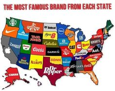 THE MOST FAMOUS BRAND FROM EACH STATE!  This is Pretty Cool!  New York: Verizon Nevada: Zappos  What are the Brands from YOUR State you were Born in and or Currently Living in???   #State #Brands #StateBrands #NewYork #Nevada #Verizon #Zappos