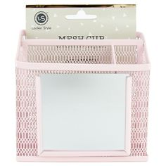 Locker Style Mesh Utility Cup with Mirror - Blush, Pink