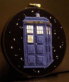 Doctor Who Tardis  Inspired Embroidery Hoop Art by ThePhantomMoon, $38.00