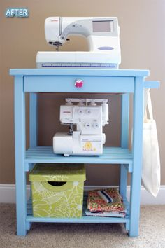 Perfect! Need to do something small like this for the sewing machine in the craft room (put wheels on the bottom of it.