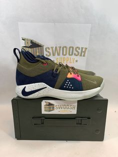 Details about Nike PG 2 ACG Olive Canvas Paul George AJ2039 200 men s size  9 Basketball Shoe 594ae69cc