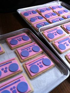 Boombox cookie favors from my daughter's dance party birthday…