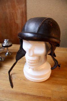 0b666a539ec Vintage 1930 s Womens Leather Motorcycle Racing Helmet