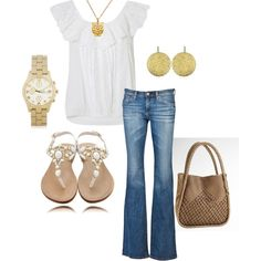 Having a Hoot in white and gold!, created by willinghamlove on Polyvore