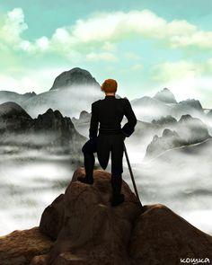 """Der Wanderer über dem Nebelmeer."" A tribute to Caspar David Friedrich.  Rendered with DAZ3D."