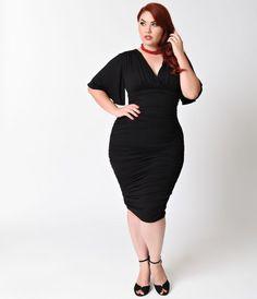 Unique Vintage 1950s Style Black Lace Blanche Wiggle Dress $128