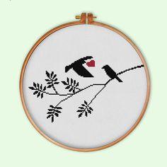 Bird Love Silhouette cross stitch pattern modern by ThuHaDesign