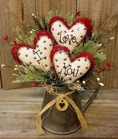 "Primitive Handmade Winter Christmas 9"" Valentine I Love You Hearts Decoration    eBay"