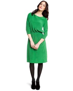 Tibi 'Easy' Emerald Green Silk Dress