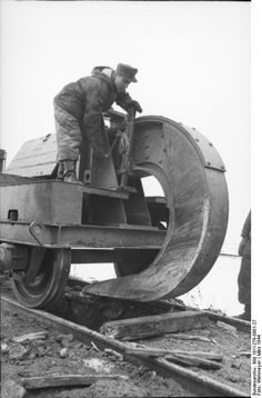 The german Schienenwolf railroad plough, a device designed to destroy railway sleepersas they retreated, so their enemies, the soviets, couldn't use them. Part of the Scorched Earth policy launched by the Germans after they began to get repulsed from the Soviet Union.