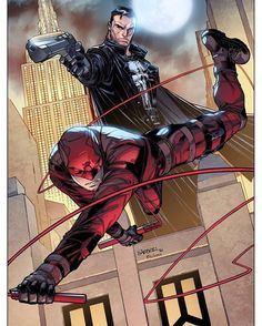 Daredevil(Matt Murdock) & The Punisher(Frank Castle) Daredevil and Punisher by Carlo Barberi Marvel Comic Character, Comic Book Characters, Marvel Characters, Comic Books, Daredevil Artwork, Daredevil Punisher, Deadpool, Arte Dc Comics, Marvel Heroes