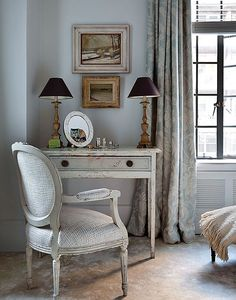 Traditional Guest Bedroom with Desk, entry table, white, distressed, shabby cottage chic, Gray Mottled Urn Table Lamp