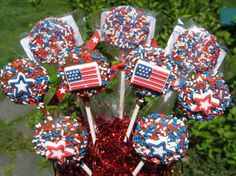 $52.00 + 16.95 shipping 24-Red, White and Blue Chocolate Covered Oreo Lollipops For Memorial Day/4th Of July
