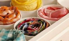 Use proven Closet Organization hacks to setup your master closet. These Closet Organization hacks can help you to de-clutter your home. Organisation Hacks, Scarf Organization, Home Organization, Clothing Organization, Lingerie Organization, Closet Organizer With Drawers, Drawer Dividers, Fabric Organizer, Drawer Organisers