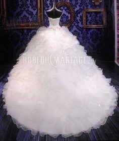 Robe de mariée col en cœur applique broderie organza sans manches [#ROBE208344] - robedumariage.info
