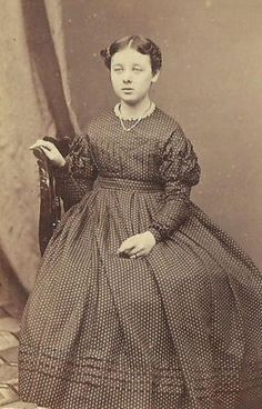 CDV Photo Beautiful Little Girl in Fancy Hoop Dress Poka Dot Civil War Era Mass | eBay