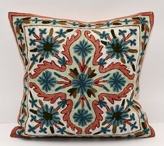 16x16. embroidered. silk embroidery. pillow. cushion. by SilkWay, $29.89