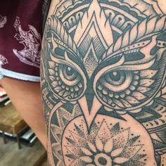 woodfarm: Details on Lucie's owl. woodfarmtattoo@gmail.com for bookings #tattoo #owl #mandala #dreamcatcher ...