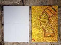 Disegni su cartolina postale con pennarelli indelebili. Permanent color waterproof on postcard