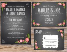 Chalkboard & Spanish Rose Wedding Invitation Suite ~ Includes Invitation, Save The Date, RSVP Card, & 25 Table Numbers ~ Use coupon code PINTEREST15 at checkout for 15% off of your total order!