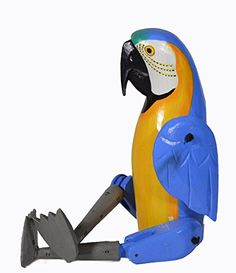 Shelf Sitter BLUE YELLOW PARROT Statue Hand Painted Carved Wood Meditating Yoga