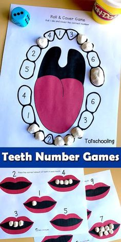FREE teeth printable games for dental health theme in preschool, featuring number recognition and counting activities.