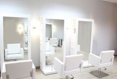 Contemporary Hair Stations | Clean and modern lines embrace the salon's trendy and modern ...