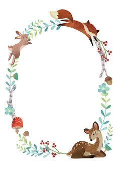 Woodland Creatures, Woodland Animals, Baby Shower Invitation Templates, Baby Shower Templates, Baby Art, Woodland Baby, Baby Prints, Nursery Art, Clipart