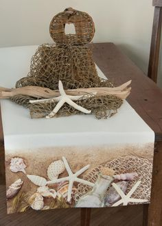 Sandscape runner from #HeritageLace. Would make the perfect table runner for a beach house or summer event! #tabledecor