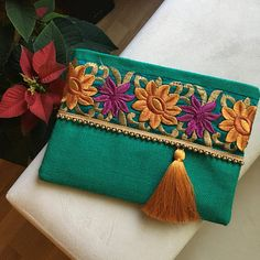 Bohemian clutch Womens handbag Ethnic Clutch Christmas Gift Evening Bag Nude Clutch Boho Style Gift for her Floral Bag Clutch Purse Bag Sewing, Summer Vibe, Bohostyle, Jute Fabric, Floral Clutches, Blue Handbags, Embroidered Bag, Clutch Purse, Floral Embroidery
