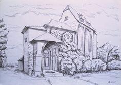 Een aardige potloodtekening van de Schillerkirche in Jena