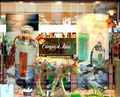 Escaparate con productos Campos de Ibiza.