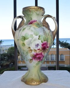 Antique Green Floral 3 Graces Opulant Portrait Vase For Wedding Home Decor #430 Gift