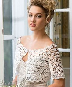 FREE crochet pattern! Exquisite bridal topper! A beautiful neckline, delicate shell and v-stitches and scallop edgings are combined for the perfect bridal cover up. Wear it on your wedding day then keep it in your closet to wear over other party dresses, sundresses or even simple summer tops.