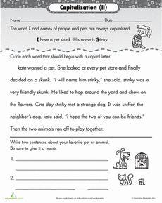 Kindergarten Capitalization Worksheet - First Letter of a Sentence ...