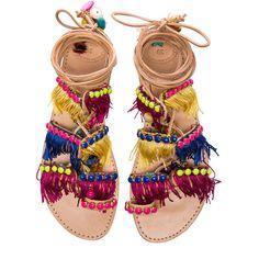 Elina Linardaki Leather Tahiti Sandals ($115) ❤ liked on Polyvore featuring shoes, sandals, flats, flat sandals, sapatos, leather flats, fringe flat sandals, laced up flats, leather lace up sandals and flat leather sandals