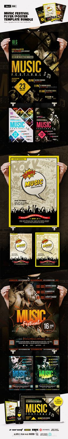 Bundle Of Music Festival Flyer/Poster by BADBORDER Bundle Of Music Festival Flyer/Poster :This flyer/poster can be used to promote an electronic music event, EDM, jazz, and indie al