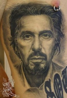 wow. just..wow. Al Pacino tattoo by Oleg Turyanskiy